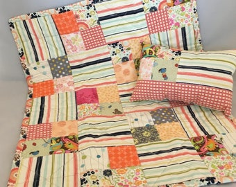 18 Inch Doll Patchwork Quilt  and Pillow for American Girl or other 18 Inch Doll