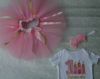 Princess castle baby girl first birthday, pink and gold tutu,personalized first birthday outfit,one year old,baby's 1st,pink and gold tutu