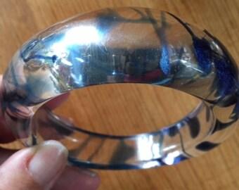 Vintage Transparent and blue swirl bangle 1980s