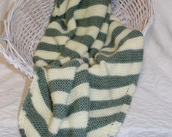 Soft Hand Knit Baby Blanket in Sage and Cream Stripes