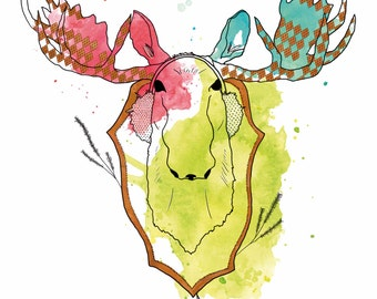 Moose illustration print, Art print Moose head, Animal head