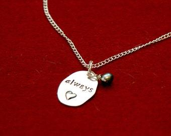 Hunger Games inspired pendant Always black pearl Love gift idea for girls