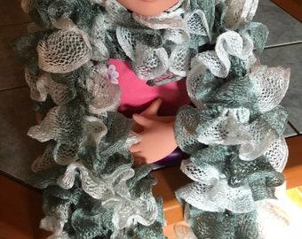 Handmade scarf ruffles gray blue and white-