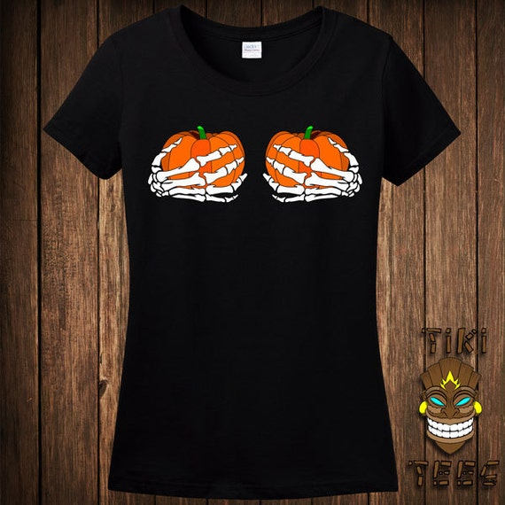 Funny Pumpkin Boobies Skeleton Hands Halloween Costume T-shirt Tee Shirt  Trick Or Treat Treating Sexy Scandalous Party Holiday Womens Ladies