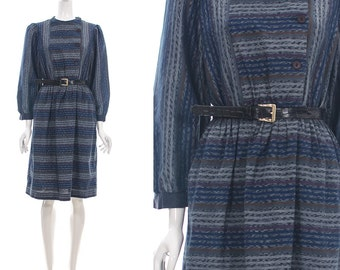 Vintage 70s Ethnic Revival Ikat Asymmetric Button Up Navy Blue Dress with Blouson Sleeves