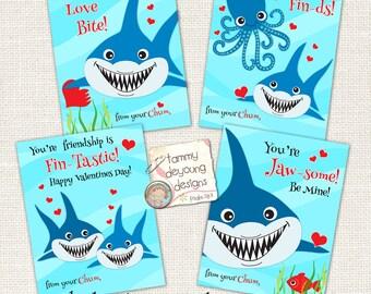 Sharks Valentines for kids, Boys Valentine Cards , Printable School Valentines, Shark Valentine tags, Ocean theme Instant Download