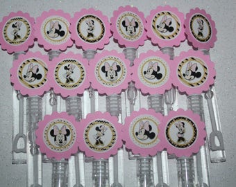 Minnie Mouse inspired Mini Bubble Wands party favors-set of 15
