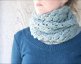 PATTERN: Erin Cowl, Easy crochet pattern PDF, infinity scarf, circle scarf, lacy neckwear, InStAnt DiGiTaL DoWnLoAd, Permission to Sell