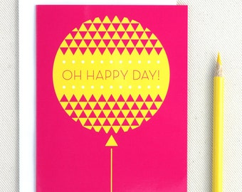 Birthday Card Oh Happy Day - Birthday Balloon Geometric Modern Birthday Card