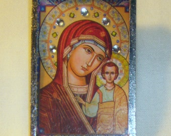 Bejeweled Virgin Mary and Child Pin & Pendant Icon inv1160