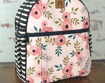 Personalized toddler backpack, floral/little girl's/kids/child's/cute/school/daycare backpack/pink and black stripes/handmade/unique gift