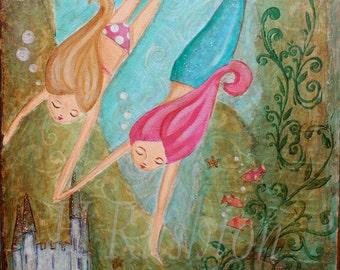 Mermaid Wall Art - Kids Art- Children Decor- Mermaid Decor - Print Sizes 8x10 and 5x7