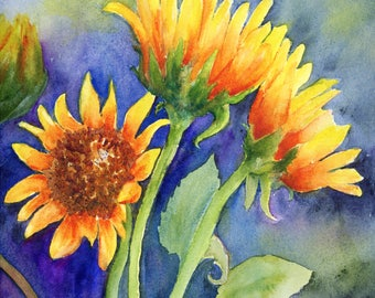 Sunflowers Cape Cod watercolor print