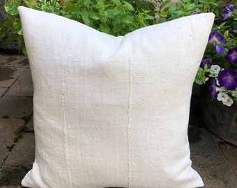 Vintage Unbleached African mudcloth pillow cover