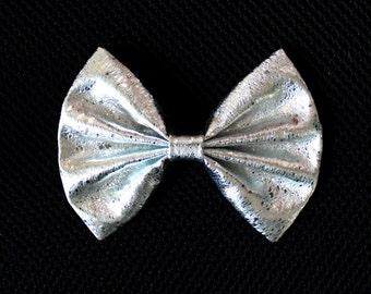 "4"" or 4.5"" shiny silver metallic hair bow, metallic silver bow clip, silver hair bow, metallic hairbow, silver bow, hair bow for girls kids"
