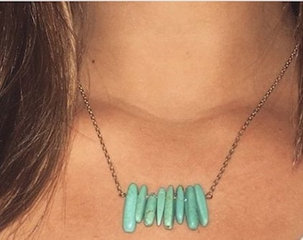 Teal Marbletooth Necklace on Gold Chain