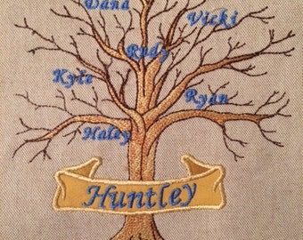 Family Tree 6x10 Pes, Dst, Hus, Vip, Jef  (Add your own family names , 25 inch font used on tree)