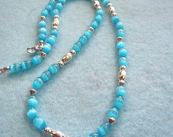 Neon Aqua Blue Glass Bead Necklace, Mystical Beaded Jewelry, Bright Blue Glass and Silver Bead Necklace
