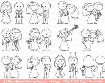 Wedding Stick Figure Photoshop Brushes, Bride and Groom Photoshop Brushes, Great for Invitations - Commercial and Personal Use