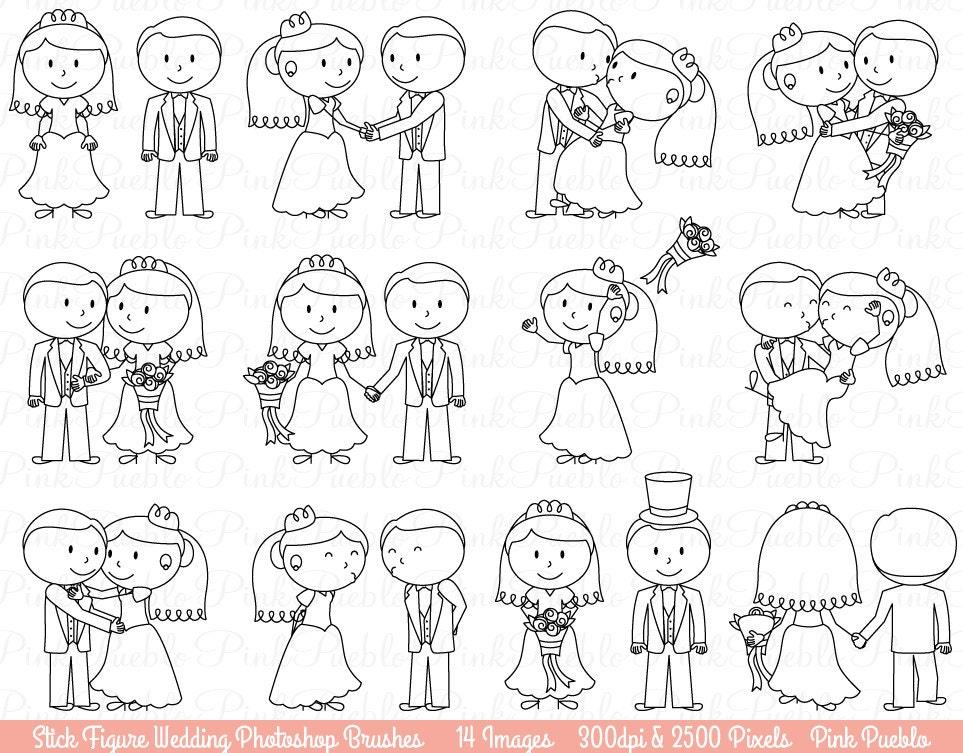 abbastanza Matrimonio figura stilizzata Photoshop pennelli sposa e sposo YM14