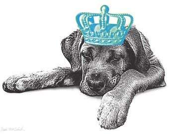 Pet Royalty - Custom Pet Portrait with a Crown, Personalized Dog Portrait Gift