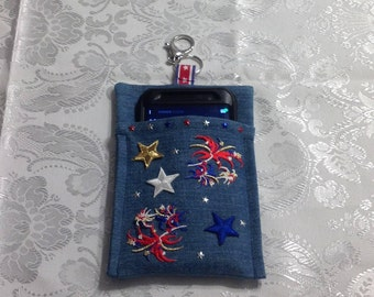 Cell Phone Carrier made with medium denim material and accented with PATRIOTIC appliques of stars and star burst