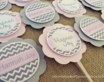 Baby Shower Cupcake Decorations, Chevron Toppers, Baby Shower Decorations, Customized
