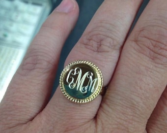 925 Sterling Silver Gold Nautical Rope Monogrammed Ring.  Bridesmaids , Mother of the Bride
