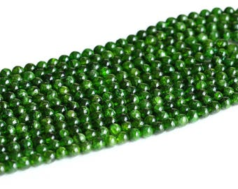 """AAA High Quality Genuine Natural Green Chrome Diopside Alalite Round Loose Beads 3mm 4mm 5mm 6mm 7mm 8mm 9mm 10mm 11mm 12mm 16"""" 05019"""