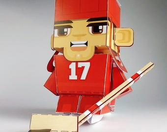 RED Ice Hockey DIY Paper Toy Craft Activity – Super craft gift for boys and girls, makes a great sports party craft activity