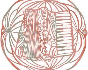 Accordion, Kiri-e Japanese paper-cut style prints (set of 6 greeting cards)