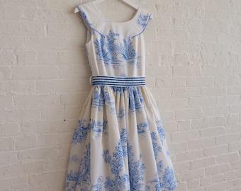 Tea Dress {blue toile  } size 2-4 / On Sale