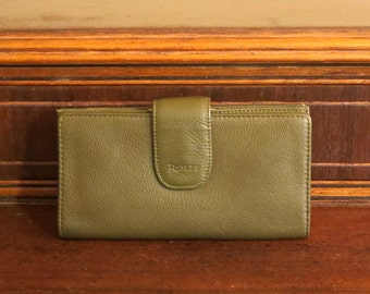 Dads Grads Sale Rolfe Green Leather Combination Wallet Checkbook and Kisslock Coin Purse- EUC