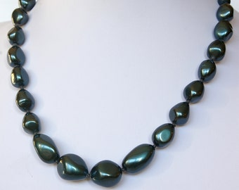 Bold Knotted Blue Pearl Necklace, 17 inches