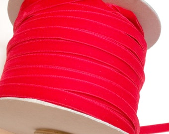 Red Velvet Ribbon, Coquelicot Red Velvet Ribbon 3/8 inch wide x 3 yards Made in Switzerland