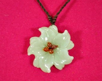 Vintage Jade or Agate Flower Pendant with Adjustable Braided Strap Woven Necklace