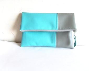 Leather clutch purse, foldover clutch, vegan leather clutch, turquoise blue, grey, zippered clutch purse