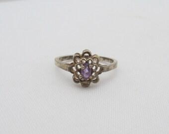 Vintage Sterling Genuine Amethyst Filigree Ring Size 6.75