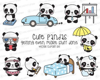 Premium Vector Clipart - Kawaii Panda - Cute Panda Planning Clipart - Even More Pandas - Instant Download - Kawaii Clipart