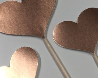 120 Rose Gold Heart Cupcake Toppers Cake Toppers Wedding Cake Decorations Food Picks Appetizers