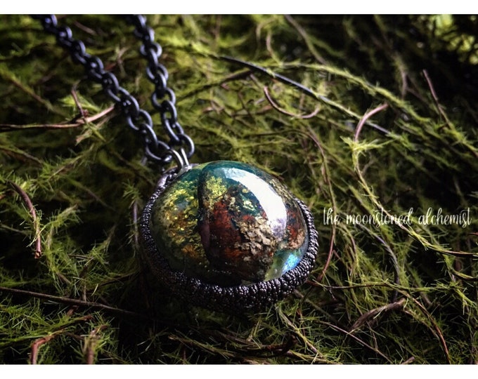 Nature blob Choker reversible with hand sculpted moon back - real moss, lichen, and bark immortalized and set in dark copper
