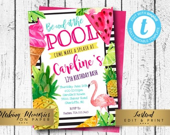 Pool Party Invitation, Tropical Pool Party, Birthday Invitation, Instant Download, Editable, Summer, Tropical, Hawaiian, Swimming