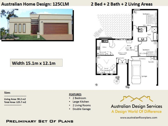 Charming 125CLM Design :90 M2 Living | 2 Bedroom + 2 Car Gagage | Concept House Plans  For Sale