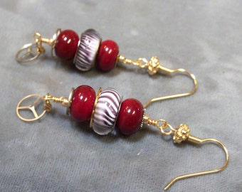 Lampwork Beaded Earrings-Artisan Lampwork Dangle Earrings-Red Queen Earrings-Vintage Watch Earrings-Steampunk Earrings-SRAJD-Artisan Beads