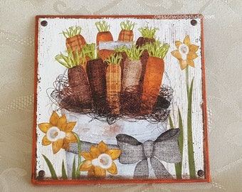 Bucket of Carrots Canvas Block of the Month (Block Only)