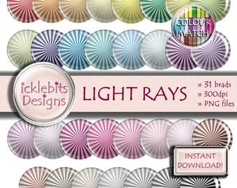 "Striped Digital Elements Pack ~ ""LIGHT RAYS"" ~ 31 Flairs ~  Light rays digital brads ~ CU Scrapbooking  ~ Rainbow ~ Design #106"