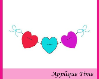 Instant Download Heart Pennant Banner Raggy Machine Embroidery Applique Design 4x4, 5x7 and 6x10