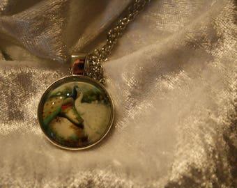 Peacock cabochon necklace