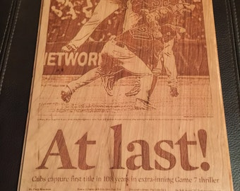 Cubs Word Series Chicago Tribune Engraving
