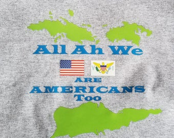 Green USVI All Ah We Americans Men's T-Shirt